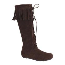 Womens Wild Diva Baylee 09 Knee High Fringe Boot Brown Faux Suede