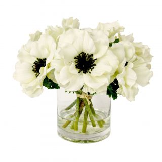White Anemone Short Bouquet in Glass Vase by Creative Displays, Inc.