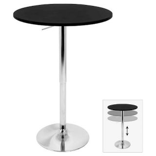 Elia 27.5 Contemporary Adjustable Pub Table   Black Wood Top with