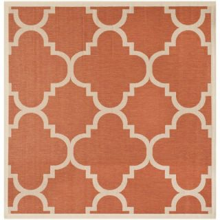 Safavieh Indoor/ Outdoor Courtyard Terracotta/ Bone Rug (710 Square)