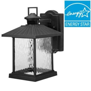 Hampton Bay Lumsden Outdoor Black LED Motion Sensor Wall Mount Lantern NTSW30030LBL MS