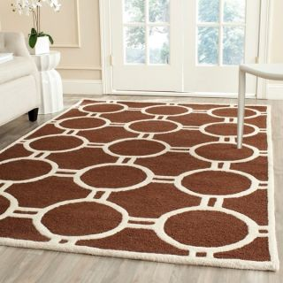 Safavieh Handmade Moroccan Cambridge Dark Brown/ Ivory Wool Rug with