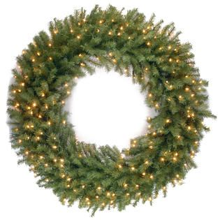 National Tree Company 48 Norwood Fir Wreath with Clear Lights