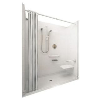 Ella Elite 33 4/12 in. x 60 in. x 77 1/2 in. 5 piece Barrier Free Roll In Shower System in White with Center Drain 6033 BF 5P .75 C WH ELW