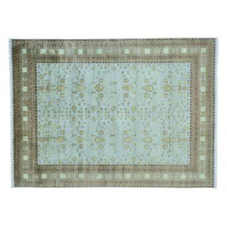 Khotan Design Pure Wool Hand Knotted Sky Blue Oriental Rug (9 x 122